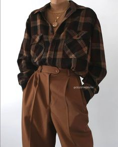 Vintage Outfits, Retro Outfits, Mode Outfits, Cute Casual Outfits, Fall Outfits, Flannel Outfits, Grunge Outfits, Hijab Casual, Travel Outfits