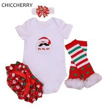 Santa Claus Baby Girl Christmas Outfits Bodysuit Bloomers Legwarmer Headband Christmas Costumes for Kids Clothes Infant Clothing(China (Mainland))