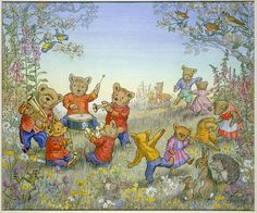 'Teddy Bear Band' - in a meadow with flowers