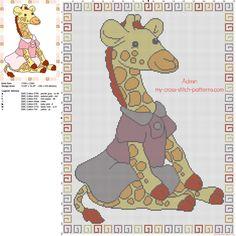 Couverture bébé avec bébé girafe avec une robe rose grille point de croix