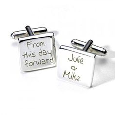 Wedding cufflinks personalised with the Bride & Grooms names