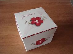 Free printable square paper box template with cute floral accent