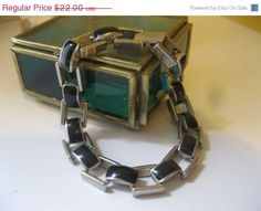 """ON SALE... Vintage Open Link Black Onyx Bracelet Large 8 1/2"""""""