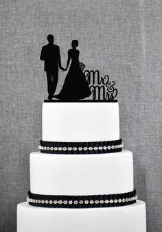 El Sr. y la Sra. silueta pareja pastel de bodas por ChicagoFactory
