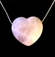 Rose Quartz Puff Heart Pendant on 925 Silver Chain - Choker Style by ShopAtJulesCrowther on Etsy