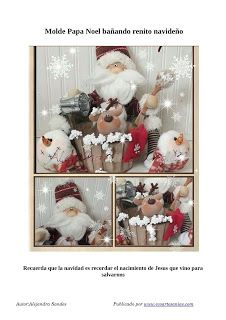 PAPA NOEL BAÑANDO RENITO Reno, Advent Calendar, Holiday Decor, Frame, Home Decor, Christmas Crafts, Cloth Art Dolls, Creativity, Papa Noel