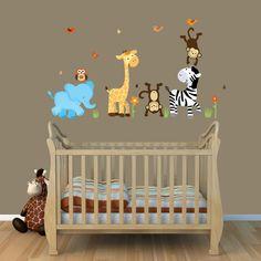 Repositionable Jungle Decals, Wall Decals, Monkeys, Elephant, Giraffe Nursery Wall Decal Art (mini wild animals). $20.00, via Etsy.