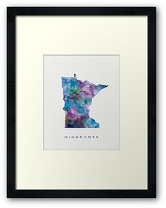 Minnesota   #minnesota #saintpaul #state #unitedstates #usa #map #art #framed #print #home #office #wall #decor #gift #ideas #abstract #colorful #country #watercolor #travel #minimalist