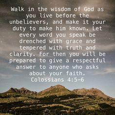 Walk in the wisdom of God as you live before the unbelievers, and make it your duty to make him known. Let every word you speak be drenched with grace and tempered with truth and clarity. Motivational Verses, Bible Verses Quotes, Bible Scriptures, Faith Quotes, Childlike Faith, Powerful Scriptures, Amplified Bible, Study Quotes, Inspirational Prayers