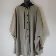 Mens Rain Jacket / Mens Cape / Hooded Cape Coat 60s Cape 60s Jacket Cape Hooded Poncho Capes for Men Rain Poncho Rain Cape Tan Jacket Brown