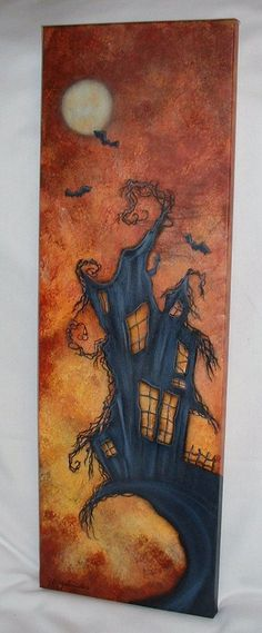 Halloween House 8X24 Acrylic Painting on Canvas by FromGramsHouse