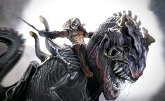 Predator rides Xenomorph Rex into battle