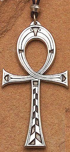 Large ANKH Pendant   Pewter ISIS & OSIRIS Necklace   Egyptian Pagan Jewelry