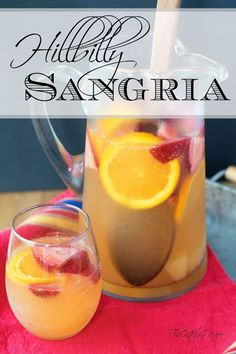 This Simple Hillbilly Sangria Recipe is perfect to throw together at the last minute for those summer bbq's or porch sits! You're gonna love it so give it a try tonight! Sangria Recipe For A Crowd, Peach Sangria Recipes, Homemade Sangria, Bbq Drinks, Dessert Drinks, Cocktails, Party Drinks, Cocktail Drinks, Beverages