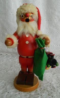 Vintage Holzkunst Christian Ulbricht Santa Toys Smoker Christmas West Germany