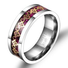 Men's Titanium Steel Rose red Freemason Masonic Carbon Fiber Inlay Engagement Wedding party ring box include QWXM size 6-11 Free