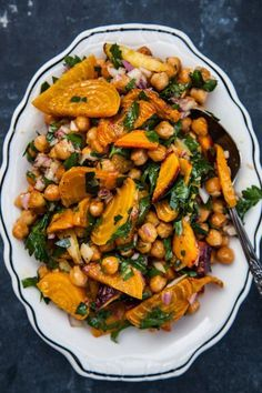 Chickpeas with Roasted Golden Beets and Carrots