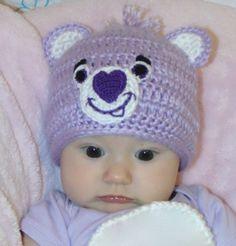 Crochet Care Bear Share Bear Purple Baby Hat  by BlackberryCrochet, $19.99