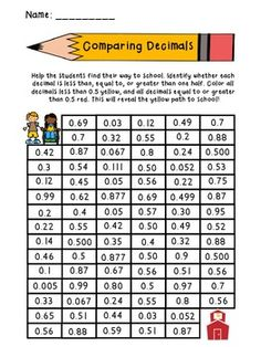 Back to School Comparing Decimals Activity $1.50- This fun activity will keep your students engaged on the first day while you handle school supplies, notes, etc. Or use this activity at any other time of year for good practice with decimals.