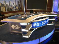 Clear top anchor desk with LED back-lit graphics for CBS Philadelphia. Fabricated by Erector Sets Inc, designed by George Allison. Tv Set Design, Stage Set Design, Design Ideas, Tv Stand Designs, Virtual Studio, Reception Counter, Tv Sets, News Studio, New Set