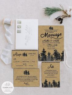 Rustic Forest Wedding Invitation Suite by Mint and Merlot Paper Co Forest Wedding Invitations, Wedding Fonts, Rustic Invitations, Wedding Invitation Suite, Wedding Printable, Invites, Rustic Forest Wedding, Woodland Wedding, Rustic Weddings