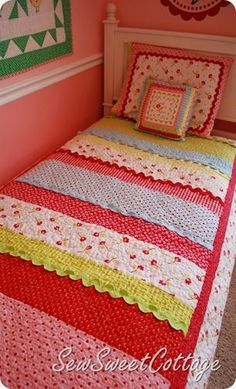 strip quilts (super easy) and the rickrack trim is so cute!.