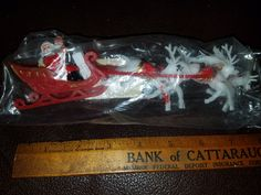 Vintage Plastic Advertising Christmas Santa Sleigh/Reindeer by VintageBarnYard on Etsy