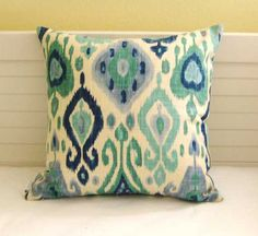 Body Pillow Cover - Mill Creek Gunnison in Blue and Turquoise Ikat Design