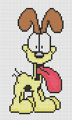 Odie Garfield Comic Perler Bead Design Chart Pixel Art Comics Crafts