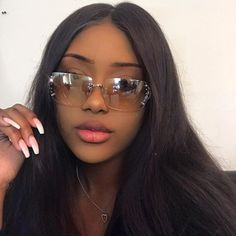 girly — like if you save. Pretty Black Girls, Beautiful Black Women, Sunglasses For Your Face Shape, Lunette Style, Mein Style, Black Girl Aesthetic, Grunge Hair, Black Girl Magic, Pretty Face