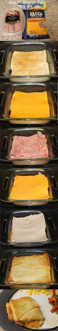 Croissants, Ham and Cheese bake. Way better than a hot pocket! **This is so easy and so yummy. New family favorite. Also tastes good with turkey. 3 Ingredient Recipes, Master Chef, Ham And Cheese, Cheese Food, Cheap Meals, Cheap Easy Dinners, Easy Dinner Recipes, Dinner Ideas, Meal Ideas