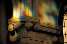 Only in God's promised empowering can churches who fervently pray for His wisdom & help show Light that is IMPOSSIBLE in human power -- like these wavering rainbows of sunlight, prism rainbow on the church chapel walls. Ephesians 3:20 and 6:10-18, power and protection to spread God's Word, for  His Glory Only (Eph 3:21). - DdO:) - http://www.dianadeeosbornesongs.com/ - SO WAKE, GOD'S CHURCH, AND PRAY!