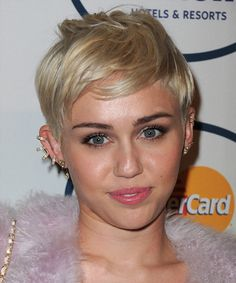 Miley Cyrus Hairstyle - Casual Short Straight. Click on the image to try on this hairstyle and view styling steps!