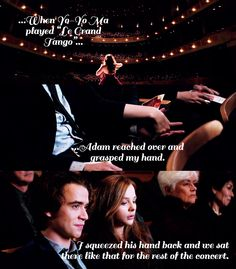 """ifistaymovie:  """"When the concert started, I peered at Adam out of the corner of my eye. He seemed good-natured enough about the whole thing, but he kept looking at his program, probably counting off the movements until intermission. I worried that he was bored, but after a while I got too caught up in the music to care….""""  75 DAYS UNTIL IF I STAY!"""