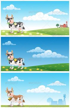 Dairy Farm  #GraphicRiver         Cartoon cow grazing on a meadow. The illustration is in 3 different versions. On 2 of them you can see the buildings of a diary farm in the distance. No transparency used. Basic (linear) gradients used. Proportions are 2:1.  CDR , AI, EPS and JPEG files.     Created: 3June11 GraphicsFilesIncluded: JPGImage #VectorEPS #AIIllustrator Layered: No Tags: animal #background #banner #blue #cartoon #cattle #character #cheerful #clouds #copyspace #cow #dairy…