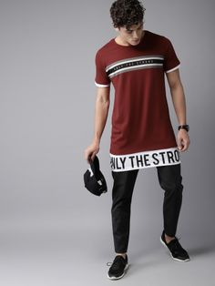 Moda Rapido Men Maroon Printed Round Neck Longline T-shirt - Ladys Marron Mens Casual T Shirts, Stylish Shirts, Edgy Outfits, Kids Outfits, Cool Shirt Designs, T Shorts, Jeans And Sneakers, Polo T Shirts, Apparel Design