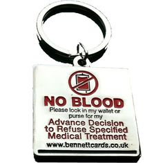 NO BLOOD KEYRING/FOB (ENGLISH WORDING) - Bennett Cards Theocratic Key Rings