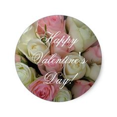 Happy #Valentine Pink White Roses Stickers #JustSold #ThankYou :)