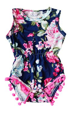 Pom Pom Romper - Midnight Gardens | Children's and Baby Clothing Boutique | Bailey's Blossoms