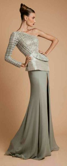 Lebanese designer Rani Zakhem created stunning couture dresses for his Fall/Winter collection. Style Haute Couture, Couture Fashion, Runway Fashion, Grey Fashion, High Fashion, Women's Fashion, Fashion Vestidos, Online Fashion Magazines, Long Formal Gowns