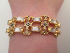 Vintage Art Deco Damascene Toledo Enamel Black Gold Mother of Pearl Bracelet | eBay