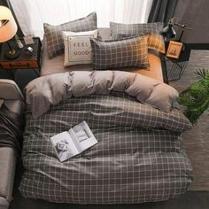 Classic bedding set 5 size grey blue flower bed linen duvet c – House Insides Classic Bed Sheets, Classic Bedding Sets, Cute Bed Sheets, Grey Bed Sheets, Plaid Bedding, Duvet Bedding, King Comforter, Comforter Sets, Grey Bedding