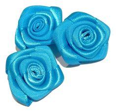 """Turquoise blue 1"""" satin ribbon rolled rosette flower"""
