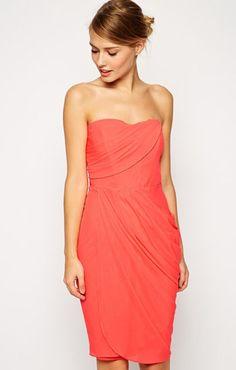 36bff71f25b43 ASOS(エイソス)ミディドレス Sheer Drape Midi Dress Coral