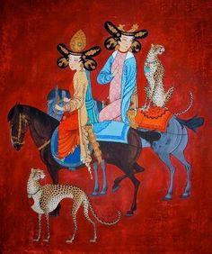 I was really seduced by these paintings of the mongolian artist Zayasaikhan Sambuu, born 1975 in a village at the Gobi desert. Zaya, as he is known, combines the styles and themes of the tradit… Art And Illustration, Illustrations, Traditional Paintings, Traditional Art, Tibetan Art, 1 John, Religious Art, Chinese Art, Art And Architecture