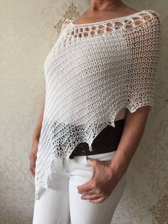 White cotton wrap, hand knit poncho, women wear, white accessories, sweater poncho, beach cover up, Knitting Yarn, Hand Knitting, Knitted Cape, Poncho Sweater, Poncho Shawl, Wrap, Crochet Clothes, Knit Crochet, Crotchet