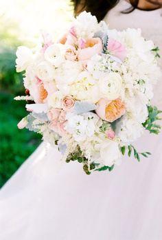 Pretty white and blush bridal bouquet