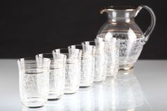 Vintage 6 Wassergläser + Krug Gläser Set Goldrand Dekor weiß ~ Art Deco 30er W6D