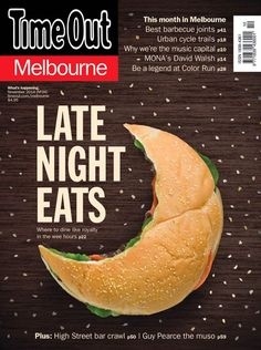 "Great magazine cover design besides the typography of ""Time Out."" It's quite distracting from the rest of the cover and seems somewhat amateur with the white stroke on the black letters. Food Graphic Design, Food Poster Design, Food Design, Graphic Design Inspiration, Menu Design, Design Ideas, Creative Advertising, Food Advertising, Advertising Design"