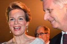 The royal looked preened to perfection as she joined King Phillippe at the evening event...